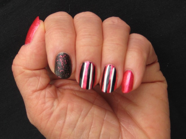 Pointer - OPI Stay The Night, All the rest - Nichole By OPI Scarlett Accents - It's So Easy Stripe Rite in Black and White